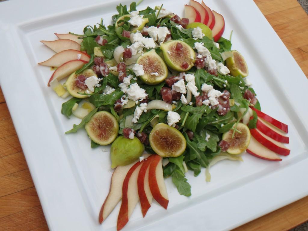 pear fig salami salad