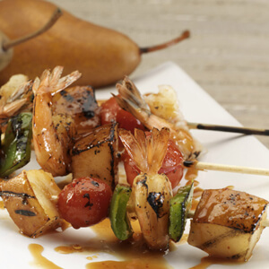Grilled Asian Shrimp Skewers with Pears