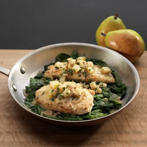 Crispy Chicken Cutlets with Pears Shallots and Wilted Spinach
