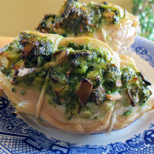 Pear and Arugula Pesto Stuffed Chicken
