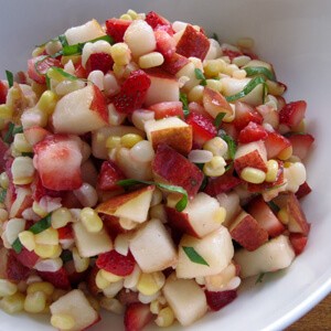 Red Bartlett Sweet Corn and Strawberry Salad