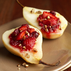 Roasted Pears with Strawberry Relish