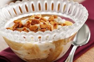 Sauteed Pears with Vanilla Yogurt and Honey Peanuts