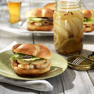 Sauteed Shrimp on Brioche with Pickled Pears
