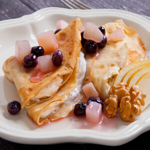Walnut Crepes with Wild Blueberries and Pears
