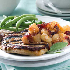 Brined Pork Chops with Spicy Pear Chutney