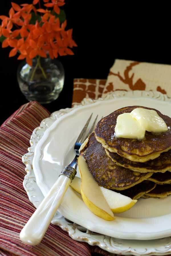 Gluten-Free Almond Pear Cardamom Pancakes