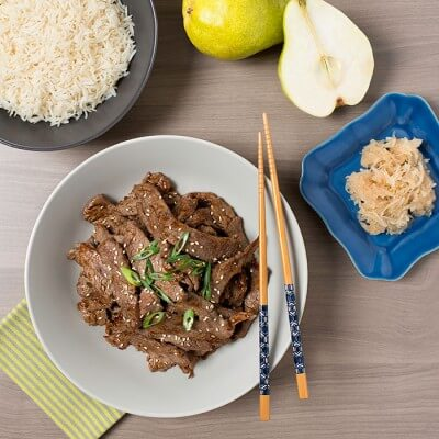 korean beef with rice and pears