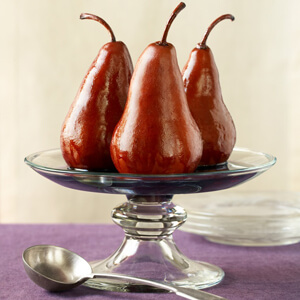 Pears Baked in Red Wine a la Piemontese