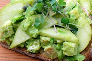 grilled chicken pear and avocado toast