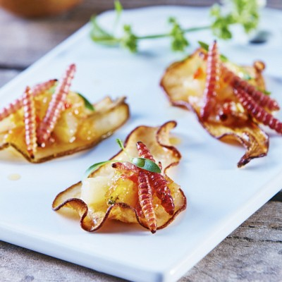 Pear Chips with Gusanos de Maguey