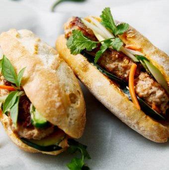 Pear recipes usa pears pear and chicken meatball banh mi sandwiches forumfinder Images