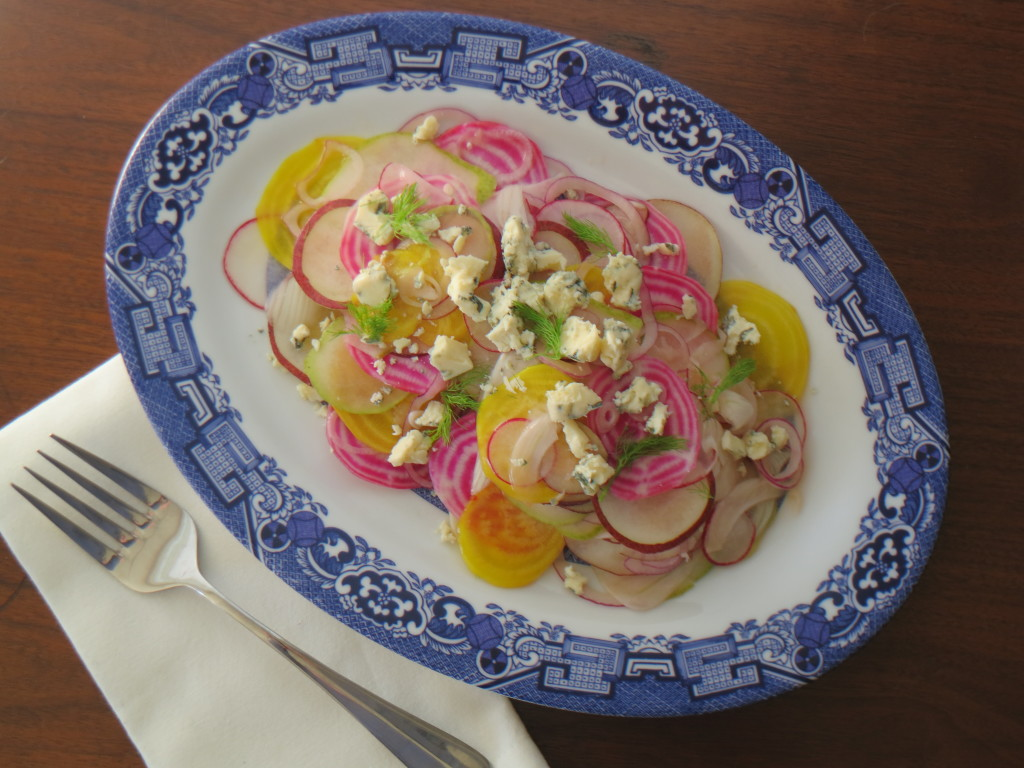 Shaved Pear and Vegetable Salad with Blue Cheese