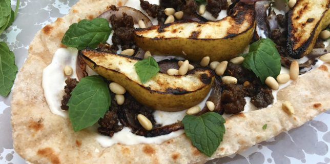 pear and ground lamb flatbread with fresh mint