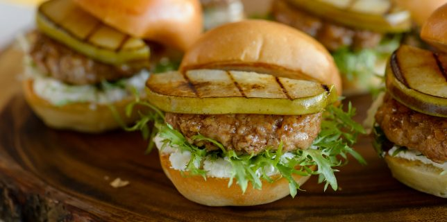 turkey burger grilled pear sliders