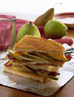 Breakfast Pear and Bacon Grilled Cheese Sandwich