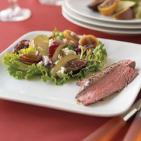 flank-steak-ribbons-with-pear-fig-salad