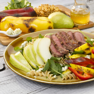 Grilled Steak Pepper and Pear Salad