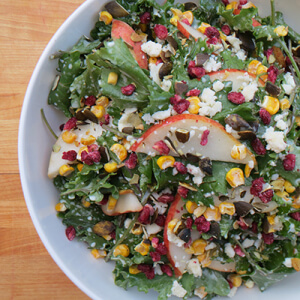 Kale and Pear Salad with Lime-Yogurt Dressing