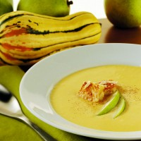 roasted-pear-and-delicata-squash-soup-with-parmesan-croutons