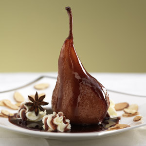 Red Wine Poached Pear with Mascarpone
