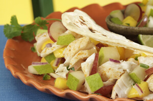 Spicy Fish Tacos with Pear Mango Salsa