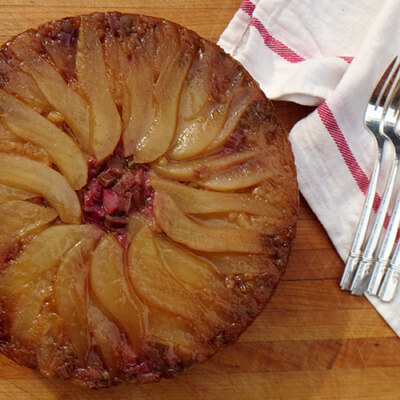 Pear and rhubarb upside down cornmeal cake