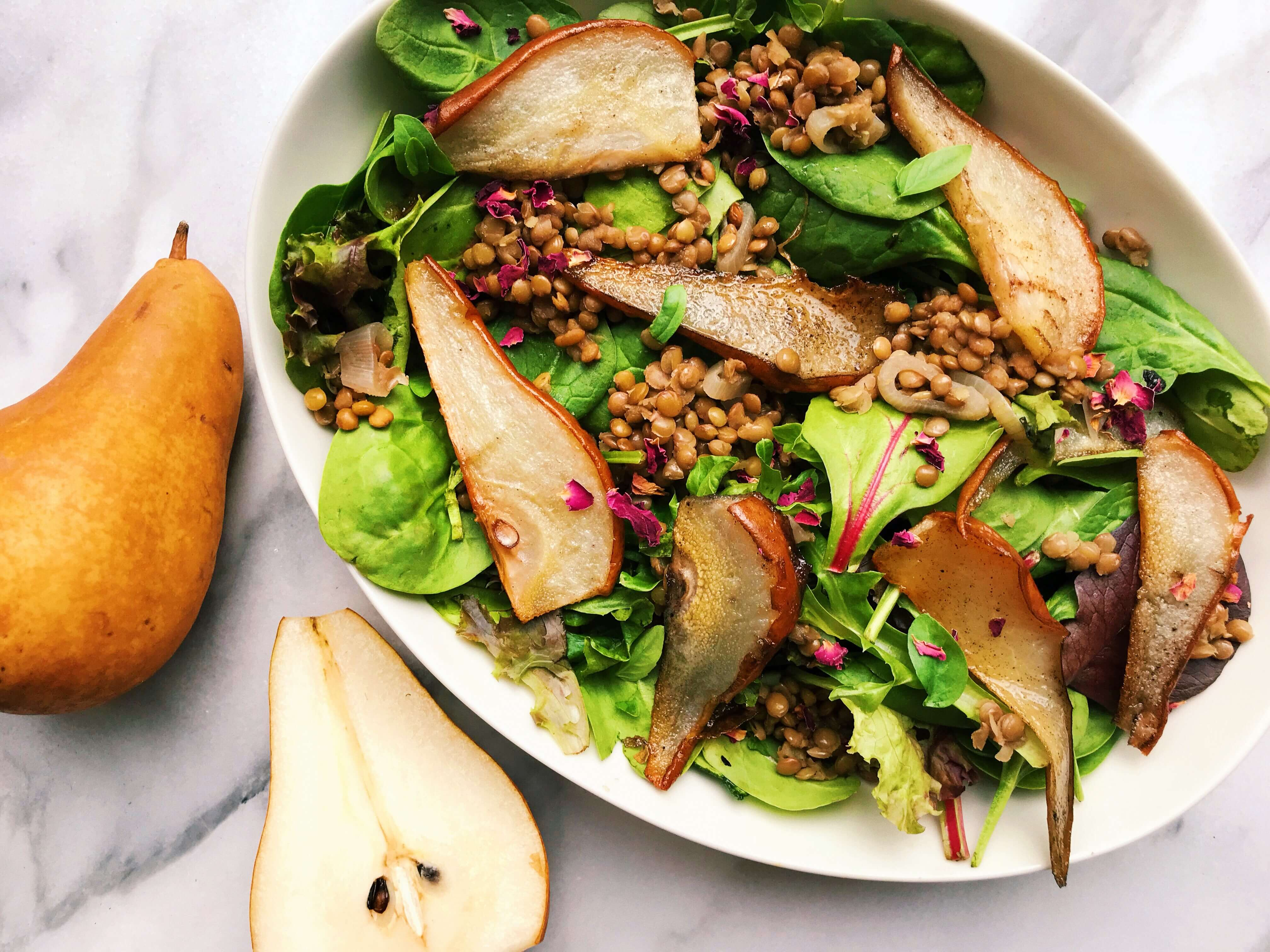 warm-greens-balsamic-lentils-roasted-pears