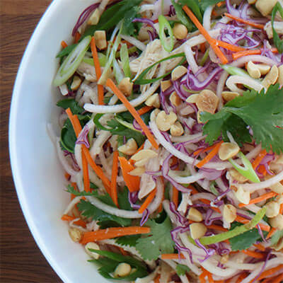 "Thai-inspired chicken salad with pear ""noodles"""