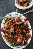cast-iron-skillet-roasted-pears-with-hearty-whole-grain-panzanella