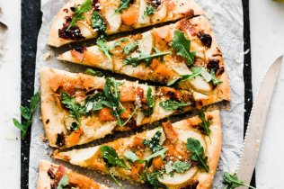 Pear Pizza with Roasted Butternut Squash, Bacon, and Arugula